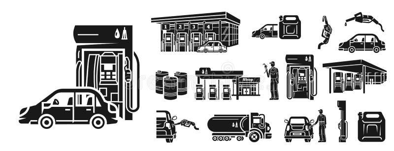 Установленные значки, простой стиль бензозаправочной колонки иллюстрация штока