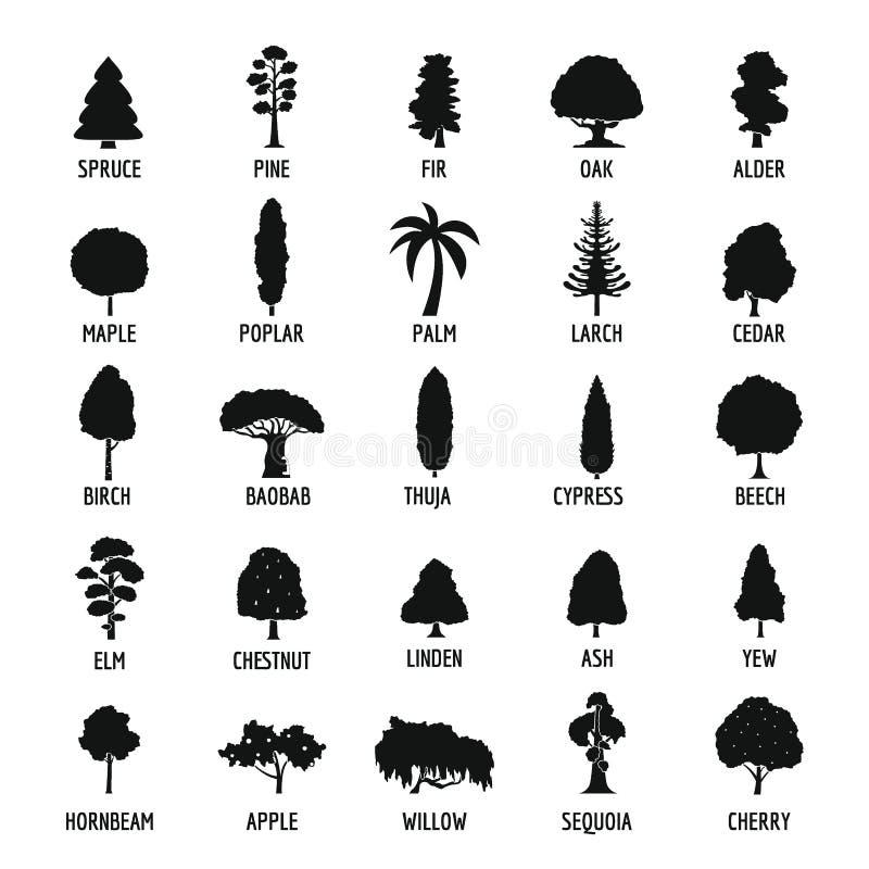 Установленные значки, простой стиль дерева иллюстрация штока