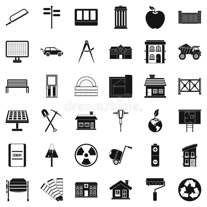 Установленные значки, простой стиль здания бесплатная иллюстрация