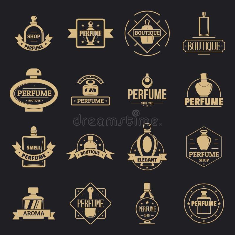 Установленные значки, простой стиль логотипа флаконов духов иллюстрация штока