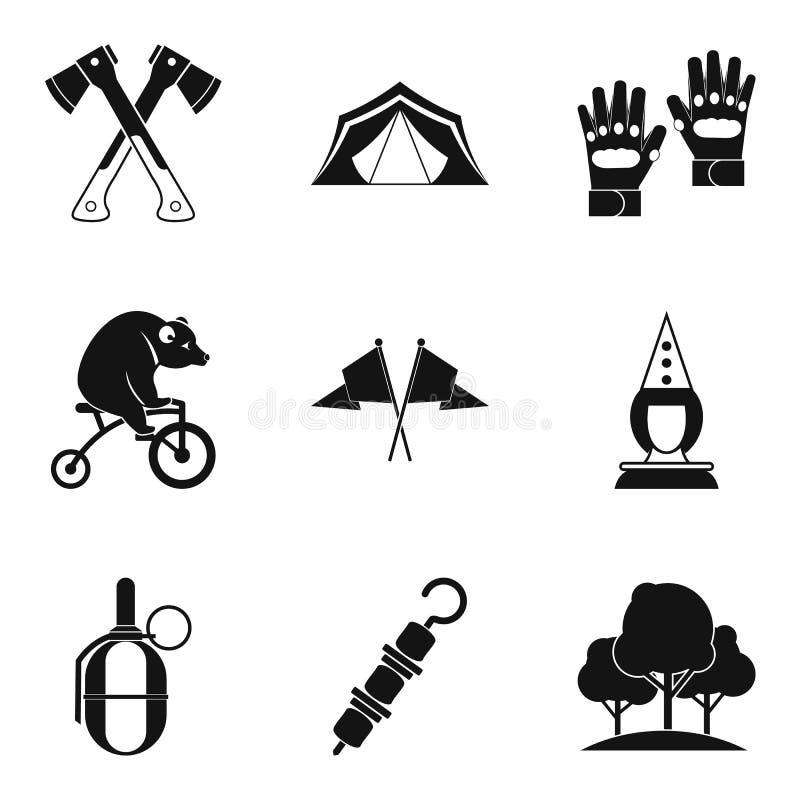 Установленные значки, простой стиль семейного отдыха иллюстрация вектора
