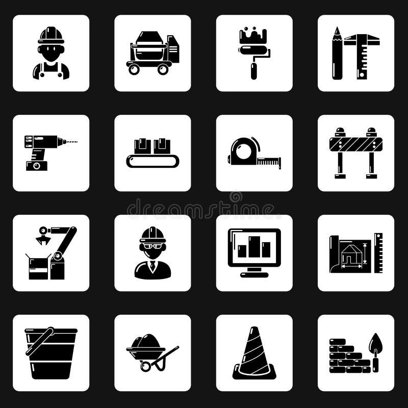 Установленные значки, простой стиль строительного процесса иллюстрация штока