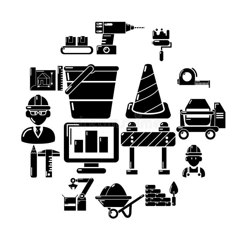 Установленные значки, простой стиль строительного процесса бесплатная иллюстрация