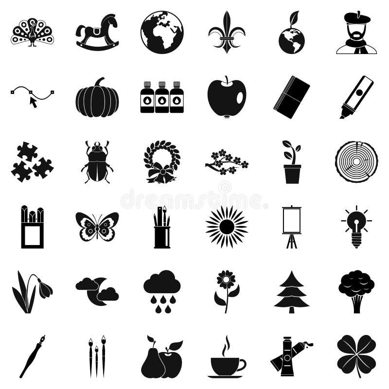 Установленные значки, простой стиль украшения Eco иллюстрация вектора