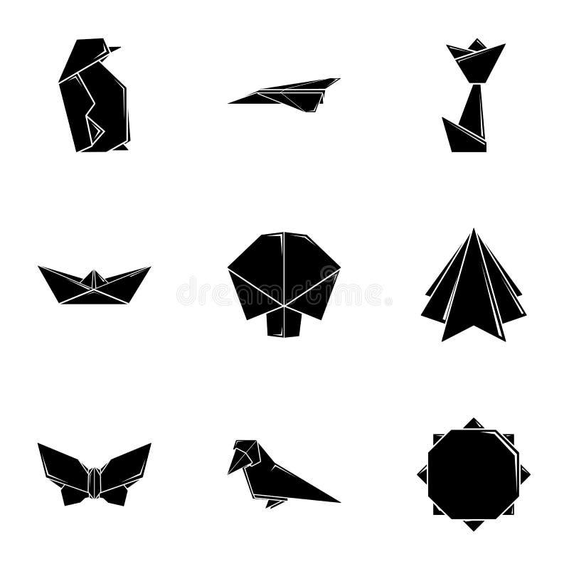Установленные значки, простой стиль щитка бумажные иллюстрация штока