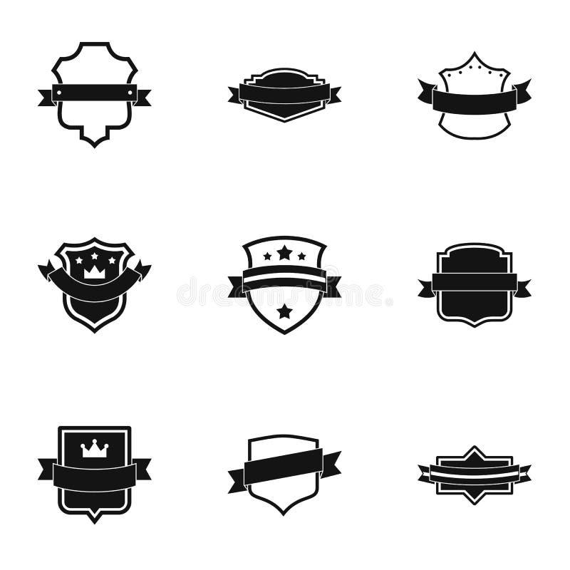 Установленные значки, простой стиль Ensign иллюстрация вектора
