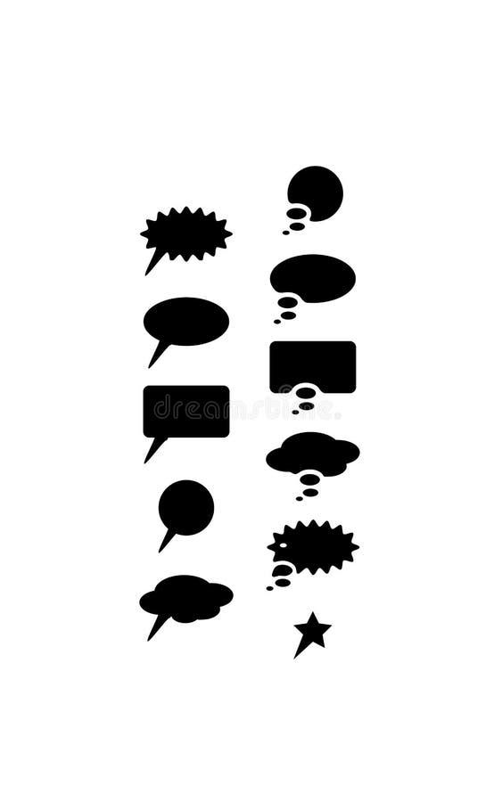 Установленные значки пузыря речи - каждый элемент собран индивидуально для легкого Иллюстрация вектора силуэта черная иллюстрация штока
