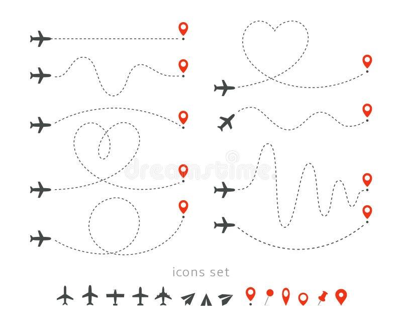 Установленные значки пути перемещения самолетом Взлет и посадка пассажирского самолета Элементы маршрута полета infographic Полет иллюстрация штока
