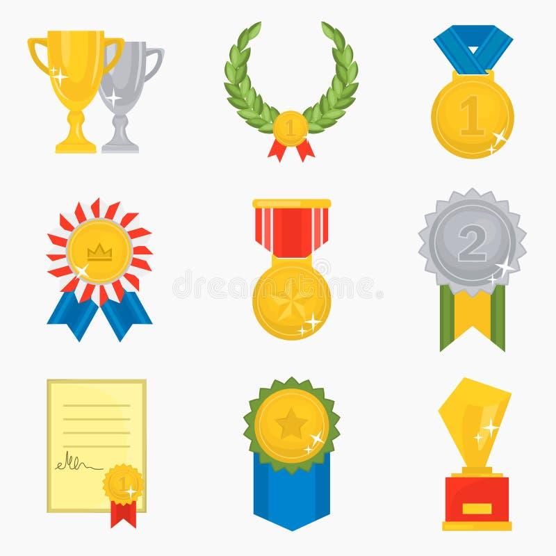 Установленные значки различного цвета наград плоские бесплатная иллюстрация