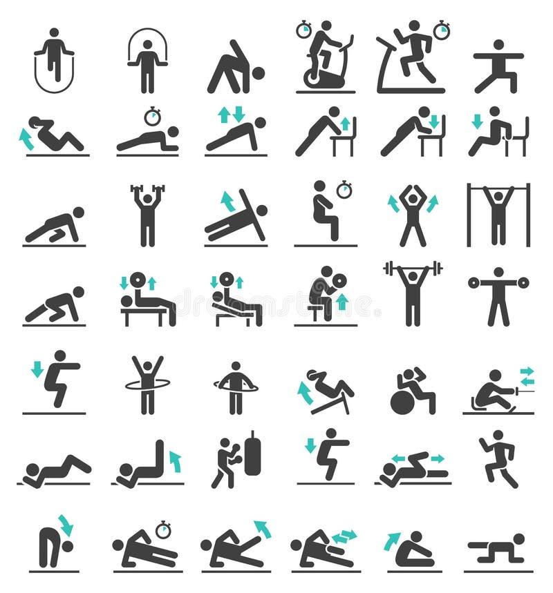 Установленные значки разминки тренировки фитнеса иллюстрация штока