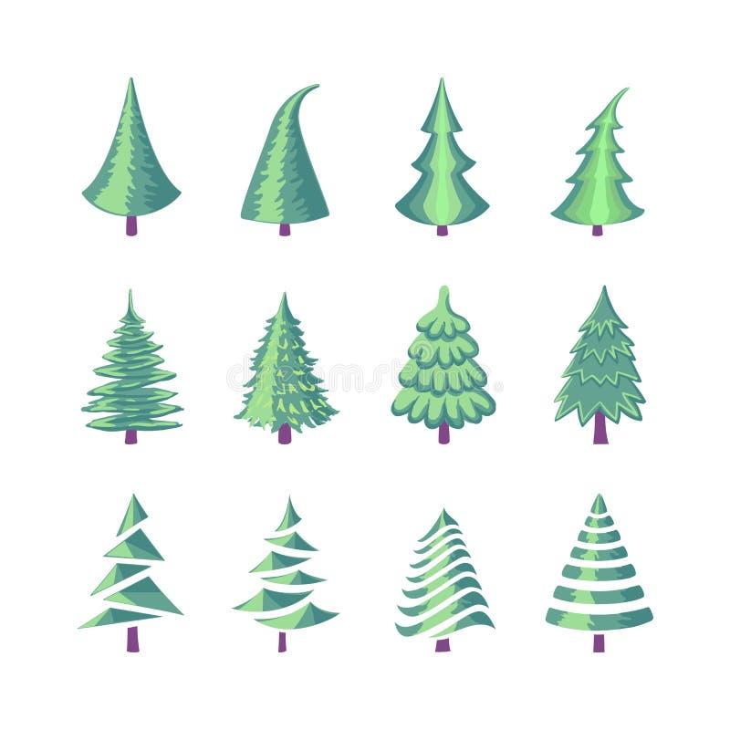 Установленные значки рождественской елки красочные бесплатная иллюстрация