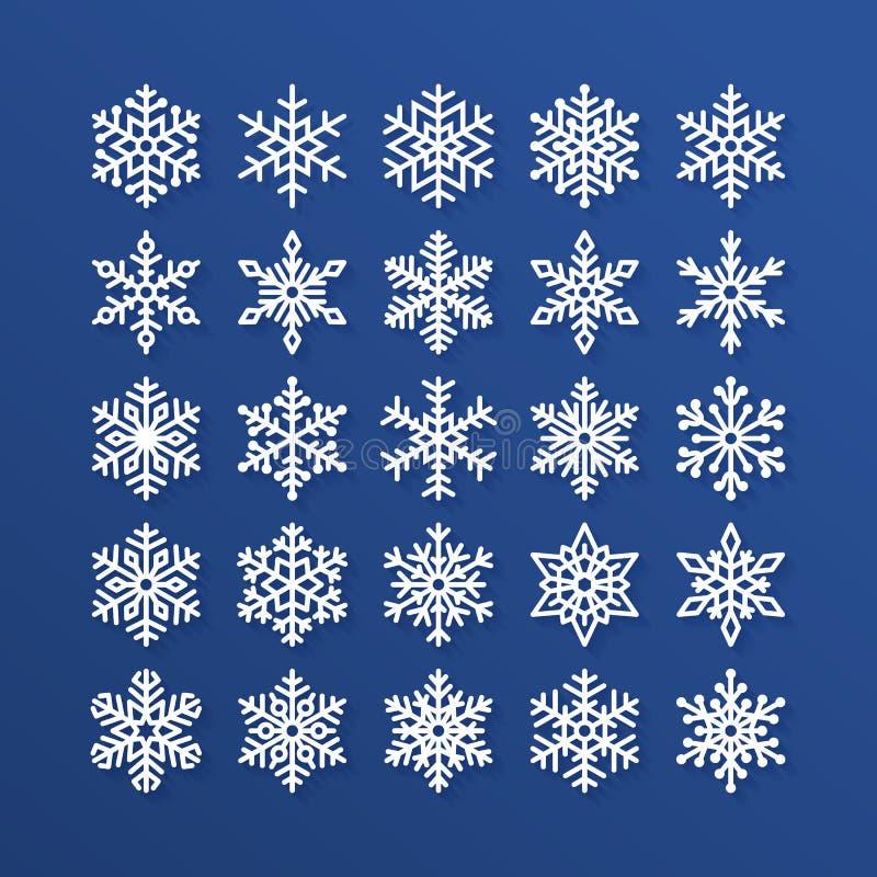 Установленные значки снежинки плоские Собрание милых геометрических снежинок, стилизованных снежностей Элемент дизайна для рождес бесплатная иллюстрация