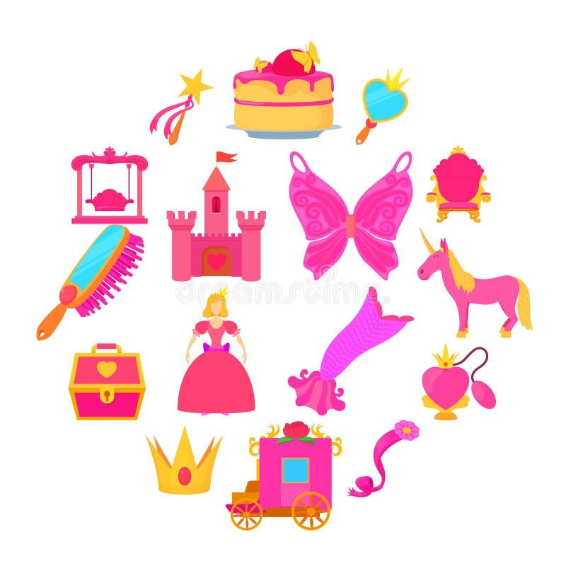 Установленные значки, стиль аксессуаров принцессы шаржа бесплатная иллюстрация