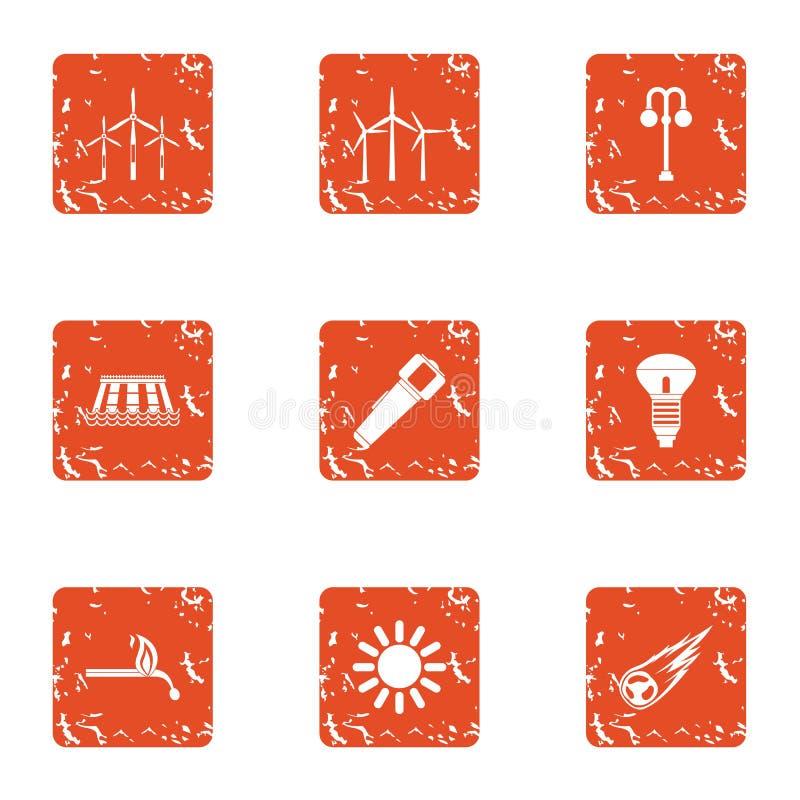 Установленные значки, стиль блока электропитания grunge иллюстрация штока