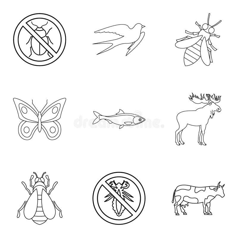 Установленные значки, стиль животного мира плана иллюстрация вектора