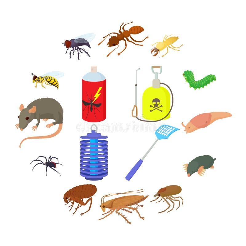 Установленные значки, стиль насекомого шаржа бесплатная иллюстрация