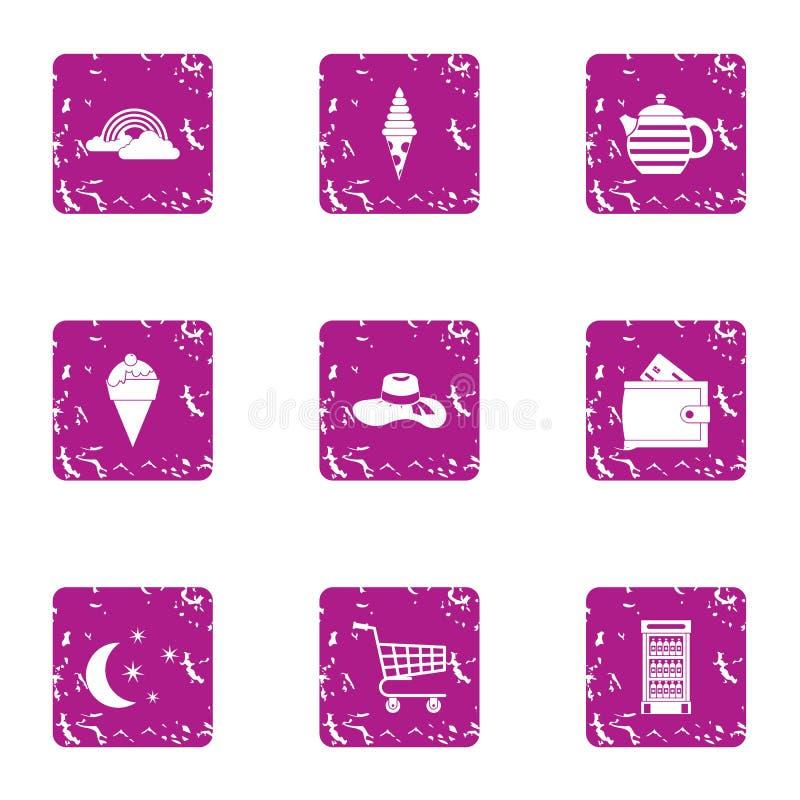 Установленные значки, стиль ночного магазина grunge иллюстрация вектора