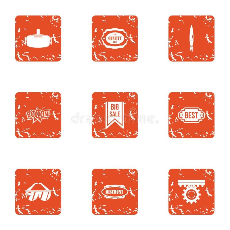 Установленные значки, стиль освобождения grunge бесплатная иллюстрация