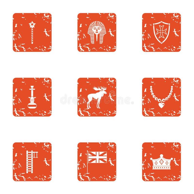 Установленные значки, стиль отрочества grunge иллюстрация вектора