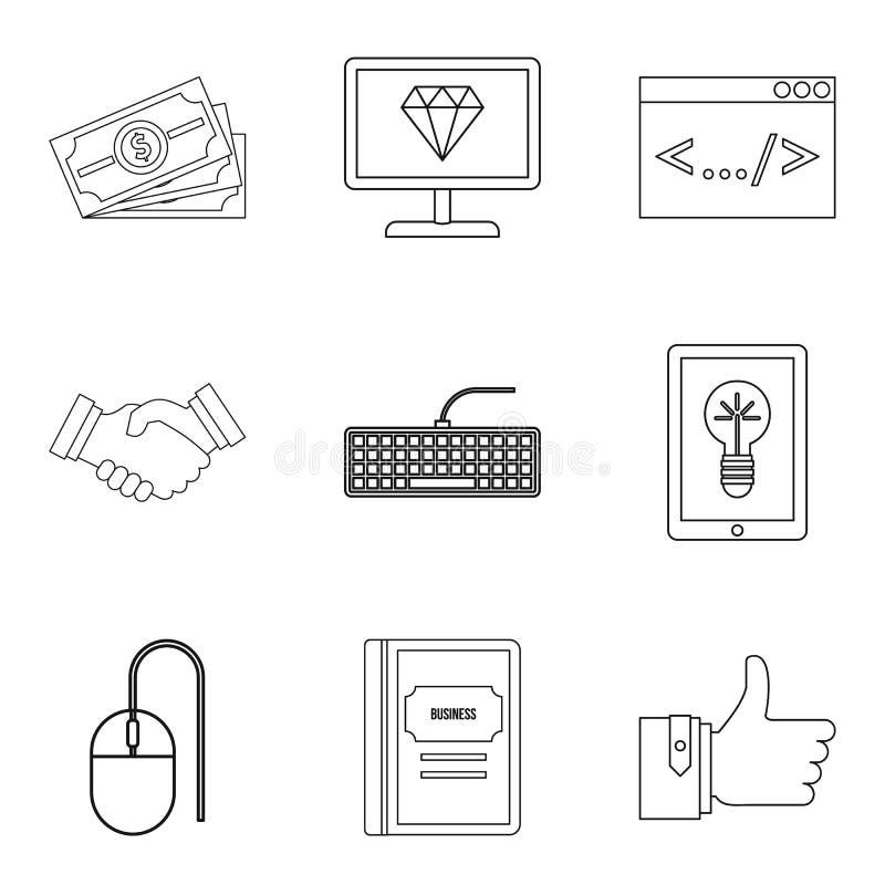 Установленные значки, стиль профессионального программиста плана иллюстрация штока