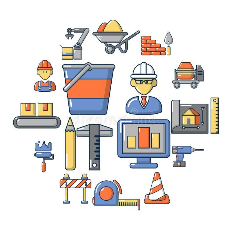 Установленные значки, стиль строительного процесса шаржа иллюстрация вектора