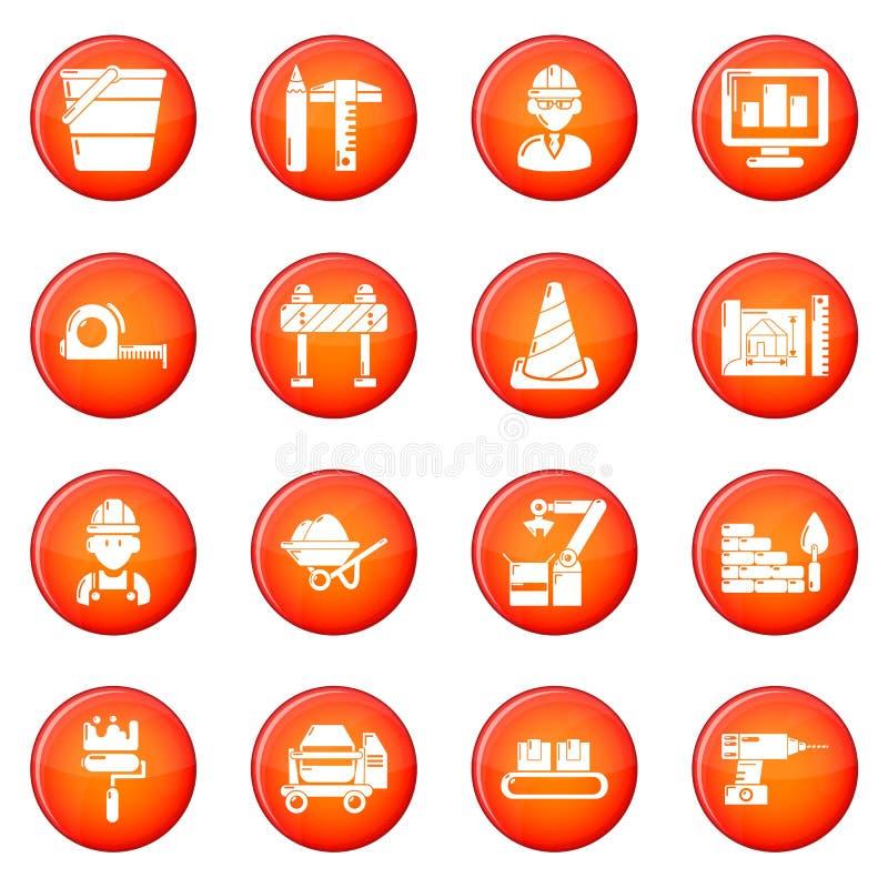 Установленные значки строительного процесса красными иллюстрация вектора