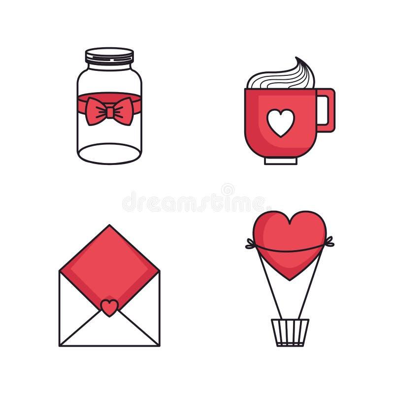 Установленные значки счастливого дня Святого Валентина бесплатная иллюстрация
