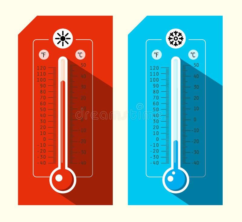 Установленные значки термометра бесплатная иллюстрация