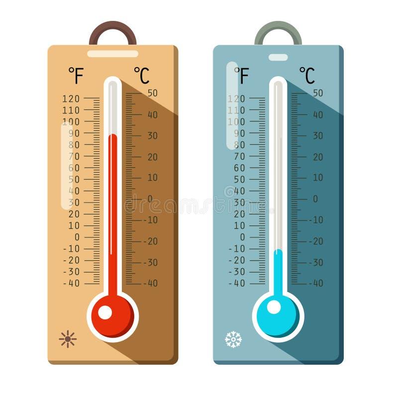 Установленные значки термометров Лето и зима бесплатная иллюстрация