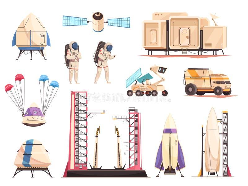 Установленные значки технологии научно-исследовательская работа по изучению космоса бесплатная иллюстрация