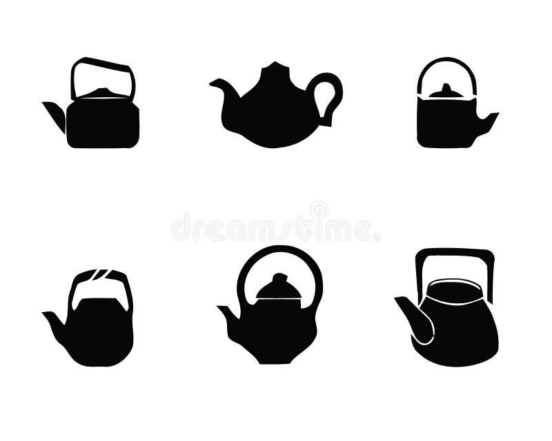 Установленные значки чайника чайника Простая иллюстрация 6 значков вектора логотипа чайника чайника для сети иллюстрация штока
