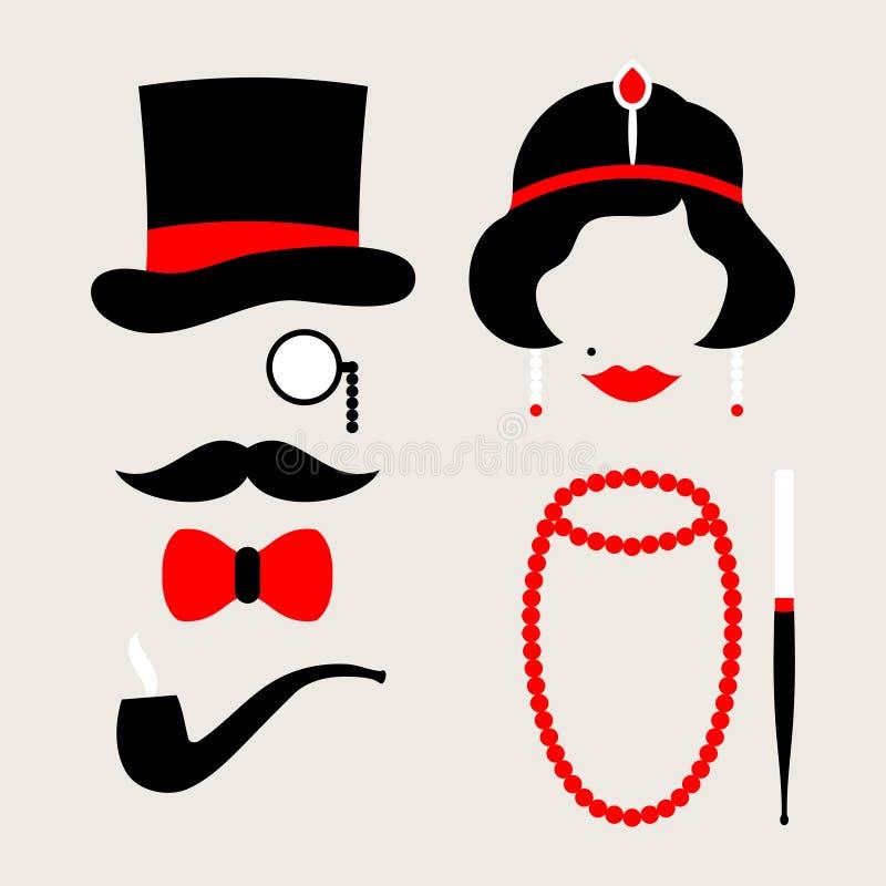Установленные значки человек и двадцатые годы женщины красные и бежевые иллюстрация штока