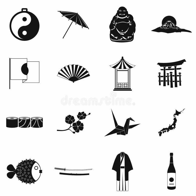 Установленные значки Японии черными иллюстрация вектора