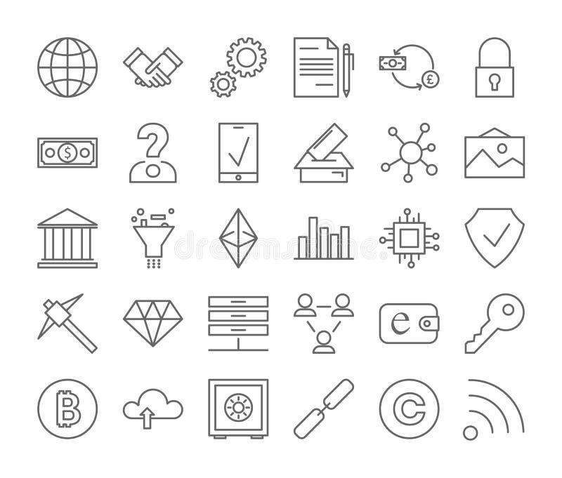 Установленные значки Blockchain бесплатная иллюстрация
