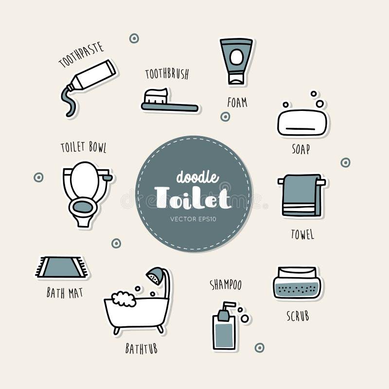 Установленные значки doodle ванной комнаты нарисованные рукой иллюстрация штока