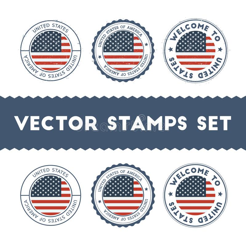 Установленные избитые фразы американского флага иллюстрация вектора