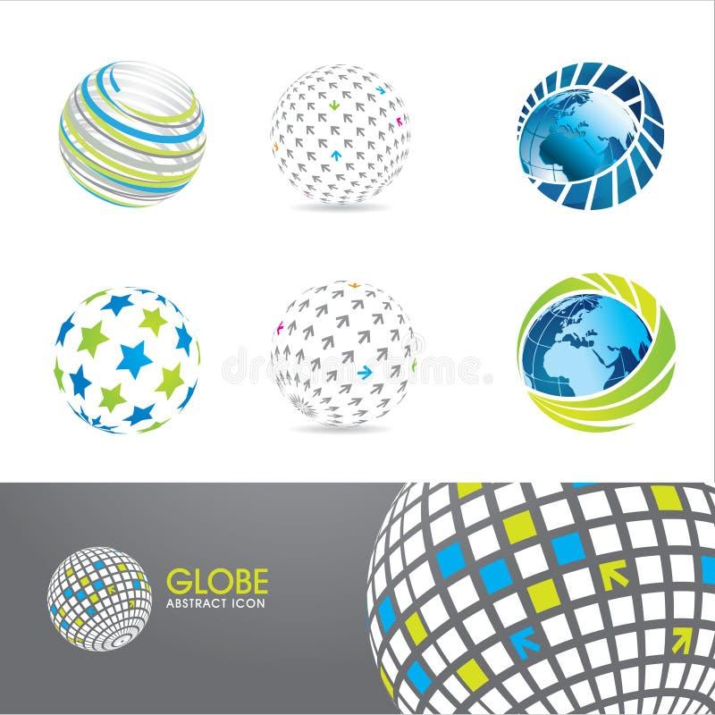 установленные иконы глобуса иллюстрация штока