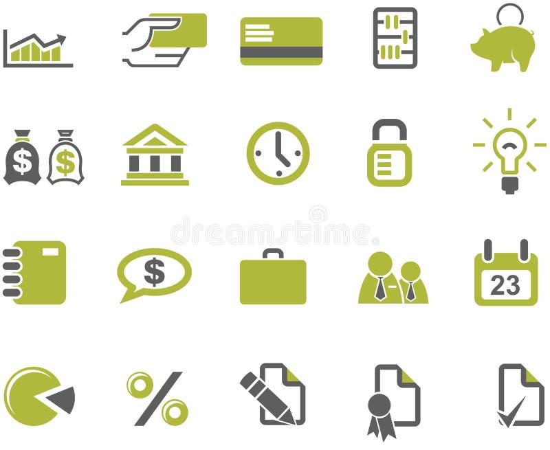 установленные иконы дела банков иллюстрация вектора