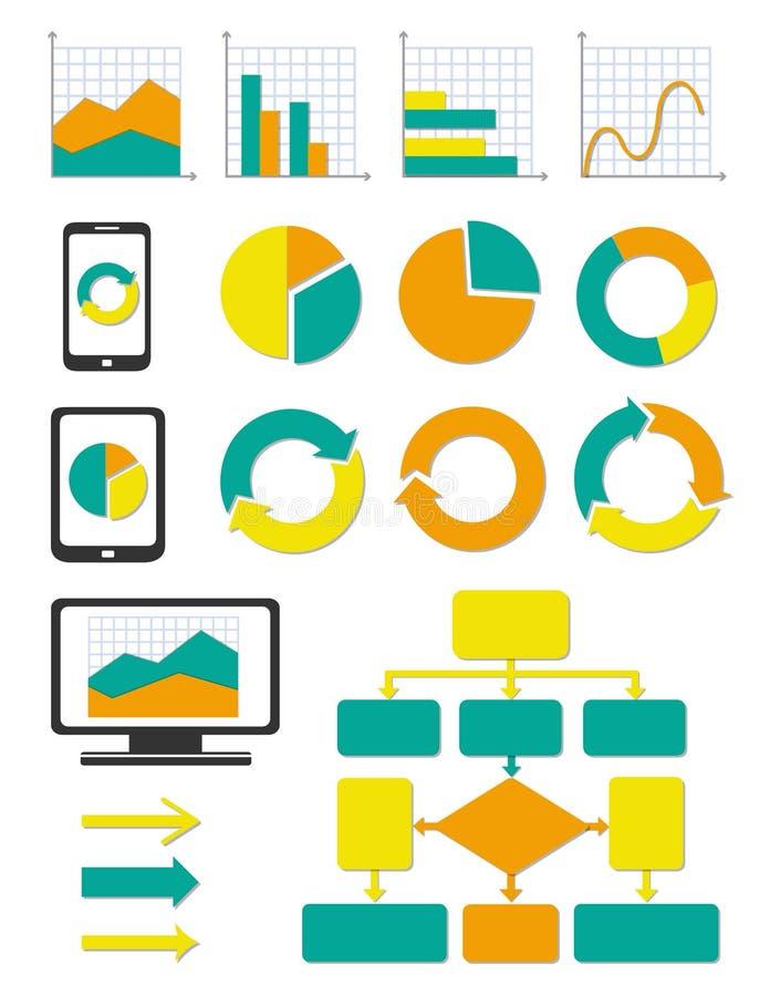 Установленные иконы диаграммы дела и диаграммы info бесплатная иллюстрация