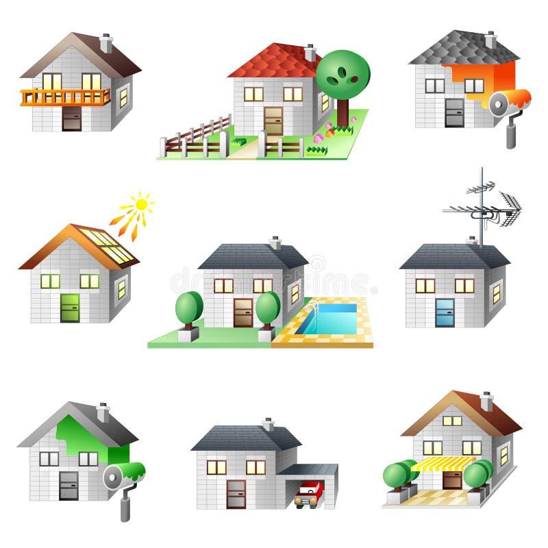 установленные иконы домов иллюстрация вектора