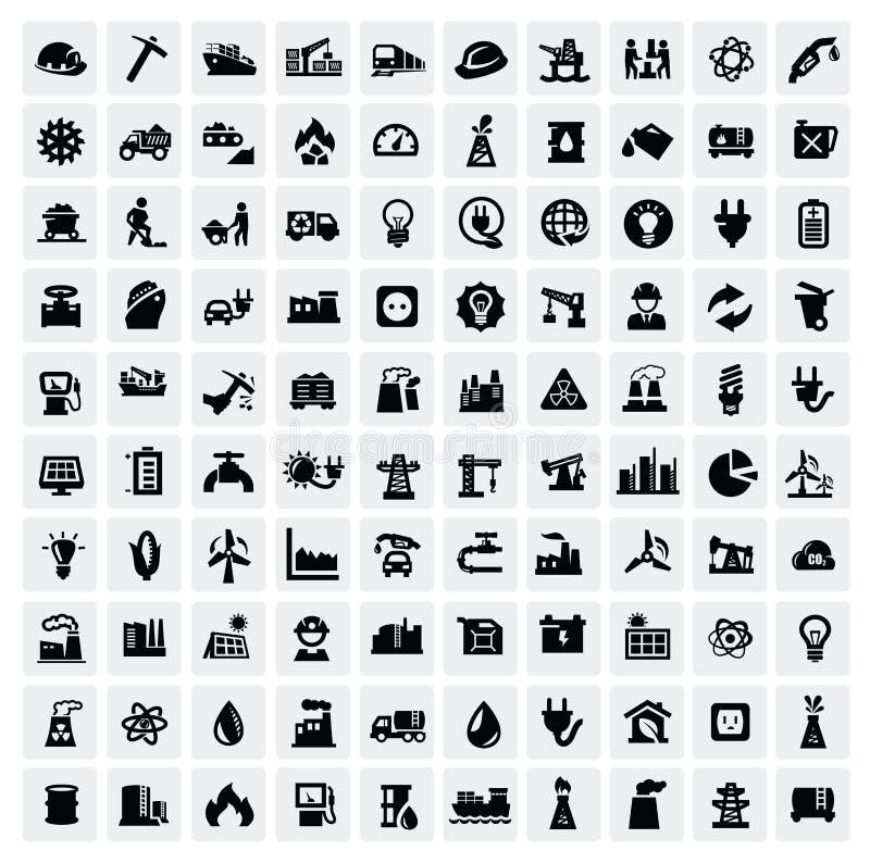 Установленные иконы индустрии иллюстрация вектора
