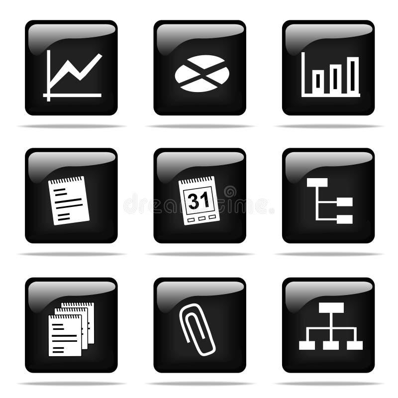 установленные иконы кнопок лоснистые иллюстрация штока