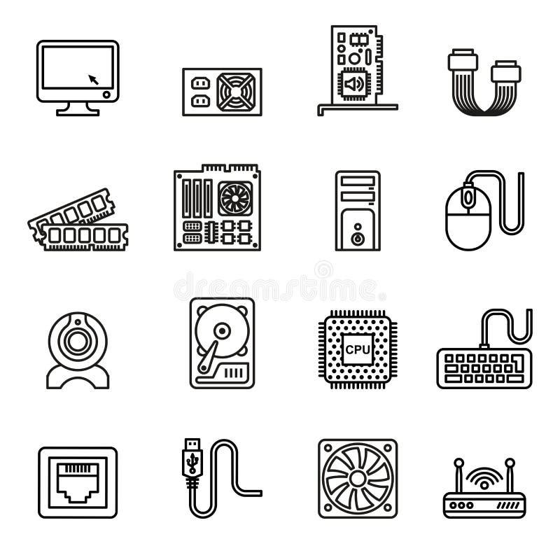 установленные иконы компьютерного оборудования иллюстрация вектора