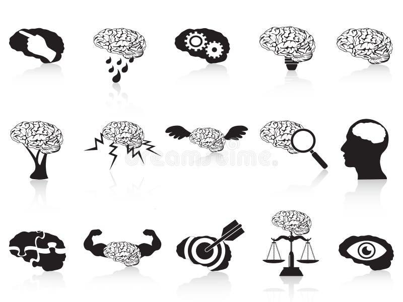 установленные иконы мозга схематические иллюстрация вектора