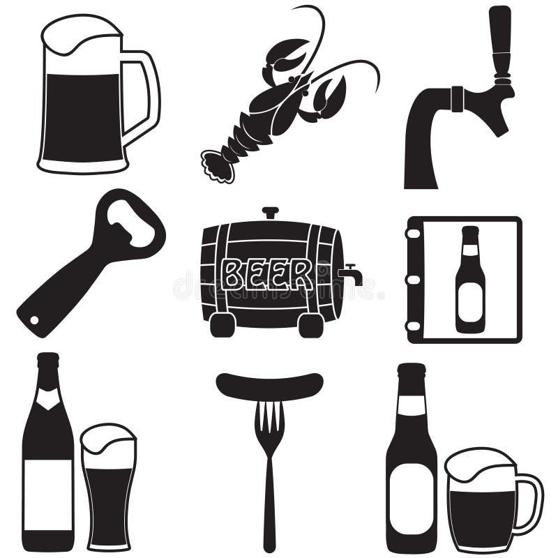 установленные иконы пива Vector символы и конструируйте элементы для ресторана, паба или кафа иллюстрация штока