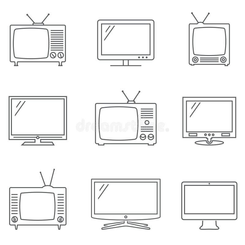 Установленные иконы TV Линейные значки вектора Пиктограммы изолированные ТВ бесплатная иллюстрация