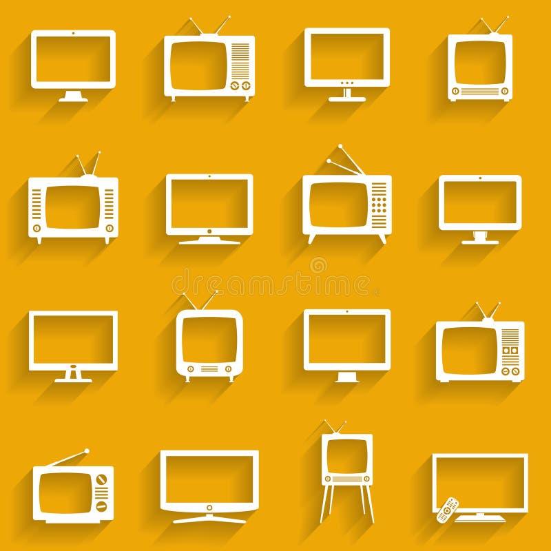 Установленные иконы TV Символы телевизора Белые плоские значки иллюстрация штока