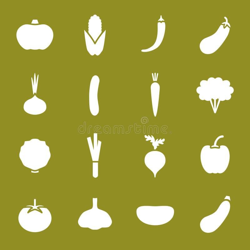 установленные иконы vegetable иллюстрация вектора