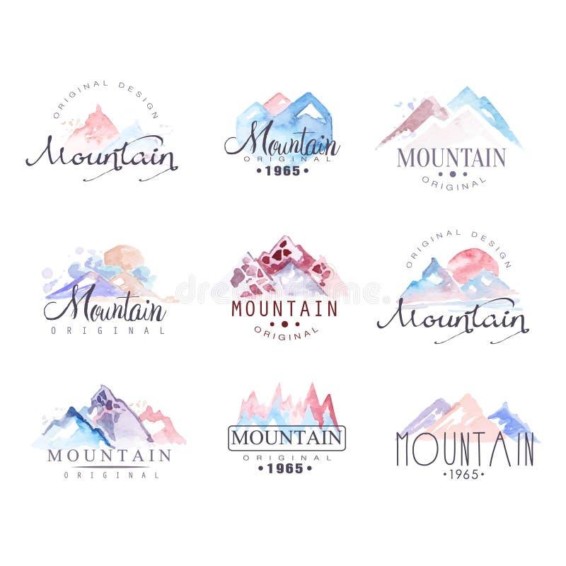 Установленные иллюстрации вектора акварели дизайна логотипа горы первоначально бесплатная иллюстрация