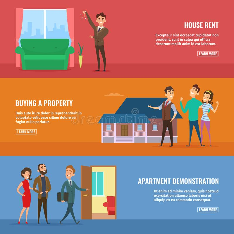 Установленные иллюстрации концепции дела Агенты недвижимости продавая различные здания к счастливым парам семьи иллюстрация штока